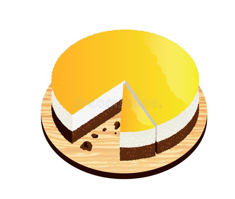 Lokalisierter orange Schokoladen-Kuchen auf hölzerner Platte, Vektor Illustrat stock abbildung