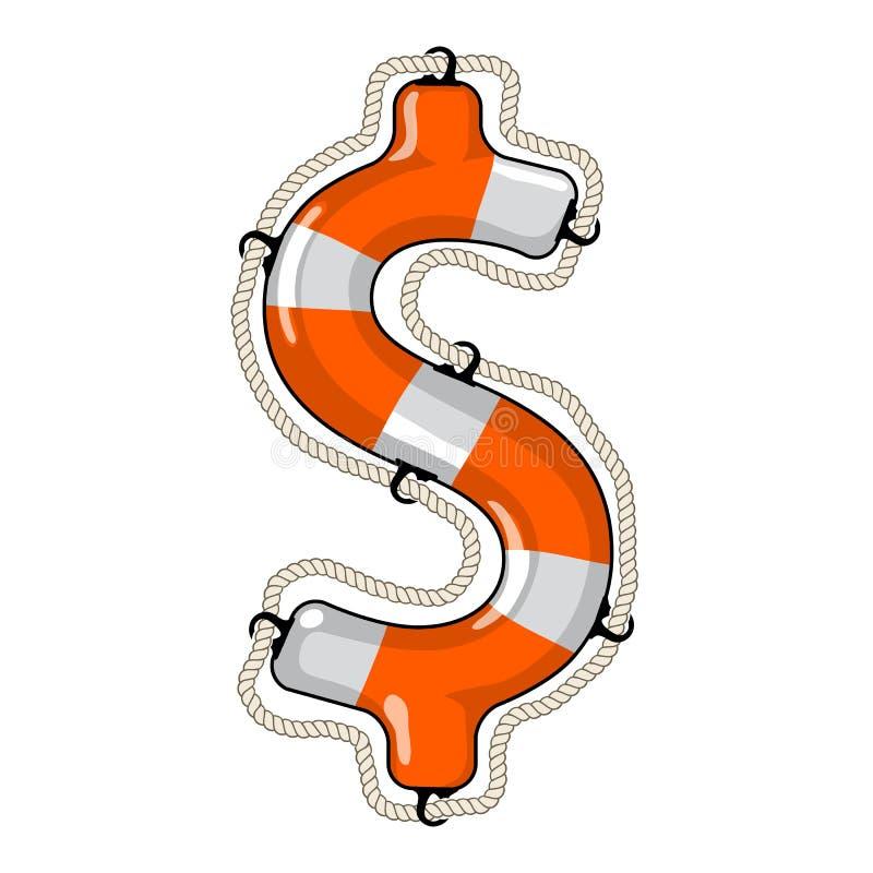 Lokalisierter Rettungsring des Dollarzeichens vektor abbildung