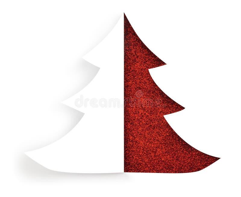 Lokalisierter roter Feiertags-Weihnachtsbaum lizenzfreies stockfoto