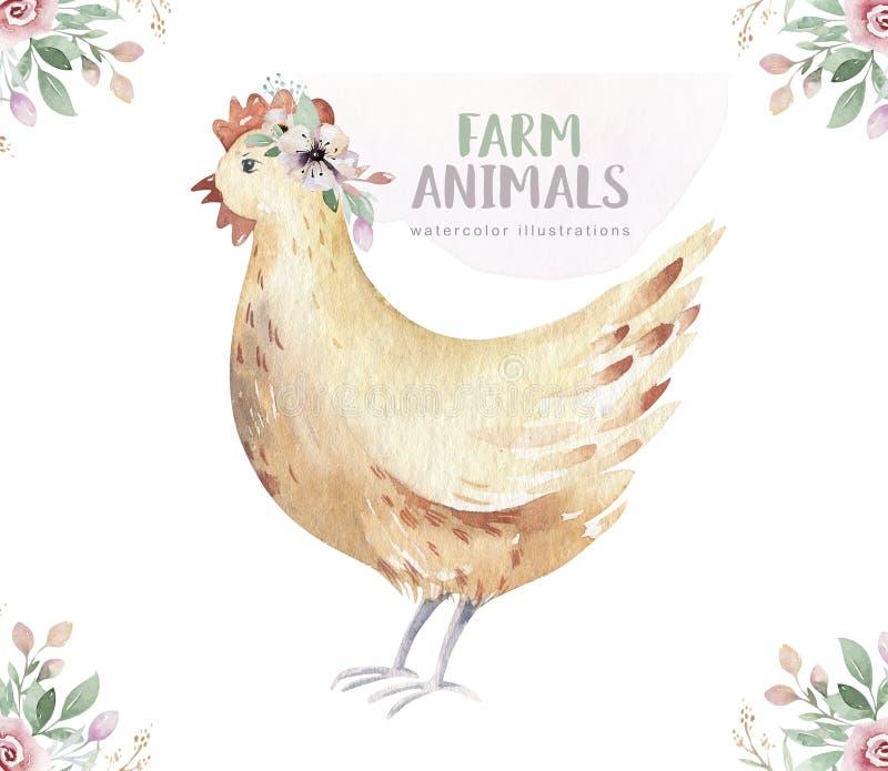 Lokalisierter Satz des Viehs Nette inl?ndische Bauernhofhaustier-Aquarellillustration Chiken-Karikaturzeichnung lizenzfreie abbildung
