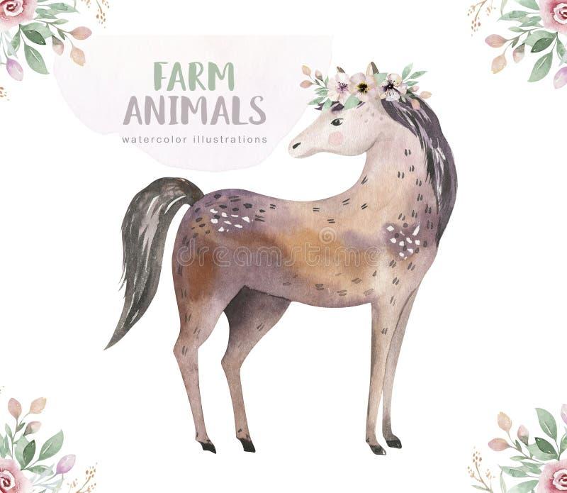 Lokalisierter Satz des Viehs Nette inl?ndische Bauernhofhaustier-Aquarellillustration Pferdekarikaturzeichnung vektor abbildung