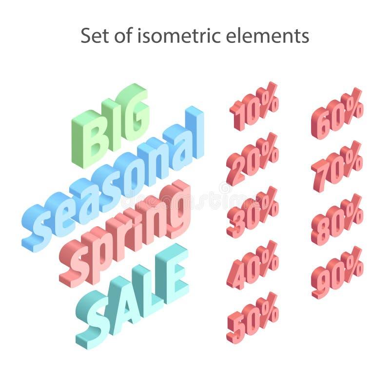 Lokalisierter Satz Elemente f?r eine isometrische Fahne Undeutliches unfocused Fr?hlingsplakat stock abbildung
