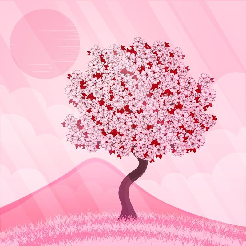 Lokalisierter schöner Kirschblütenbaum lizenzfreie abbildung