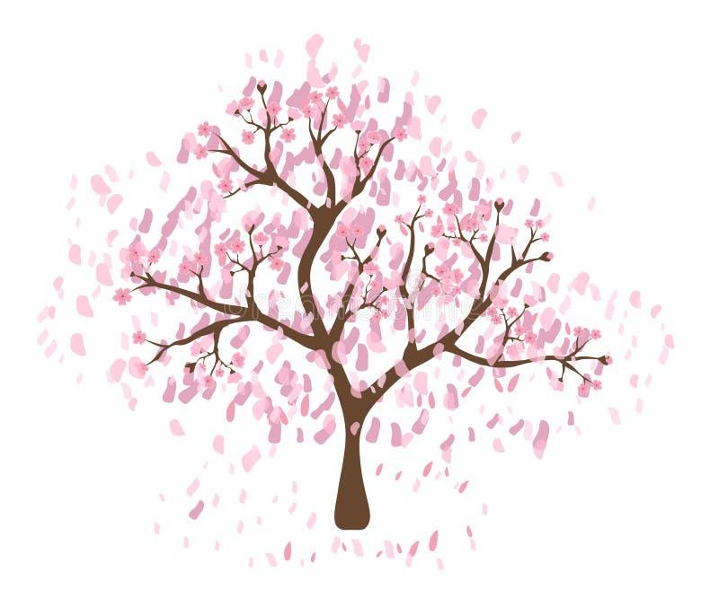 Lokalisierter schöner Kirschblütenbaum vektor abbildung