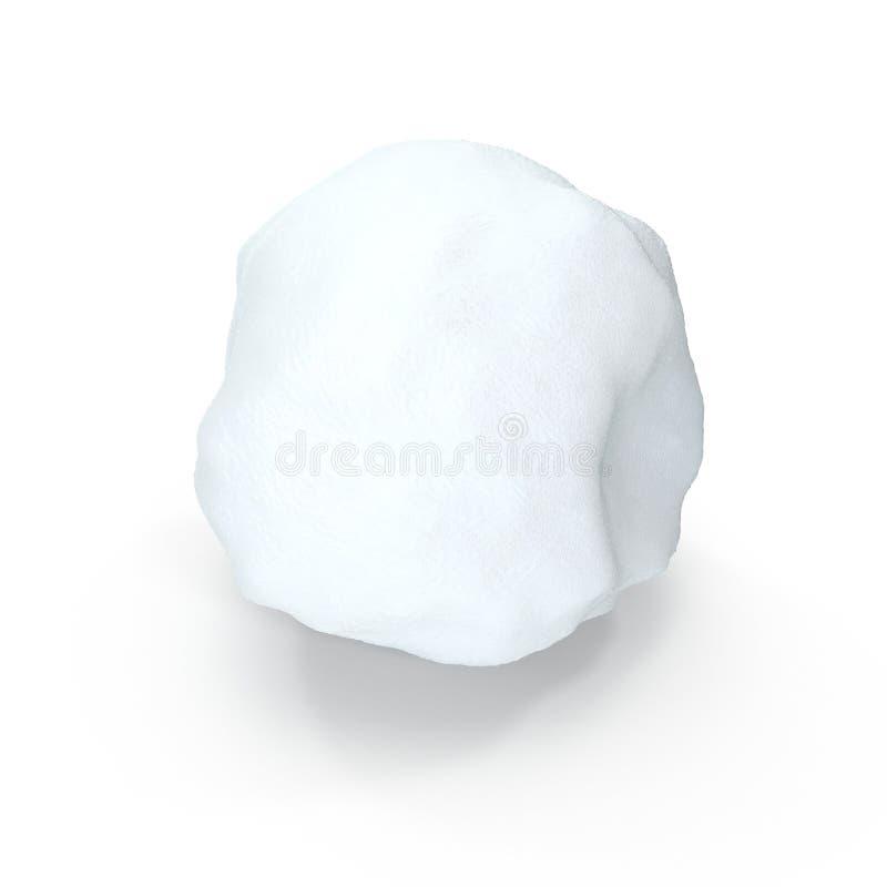 Lokalisierter Schneeball auf weißem Hintergrund Abbildung 3D lizenzfreie abbildung