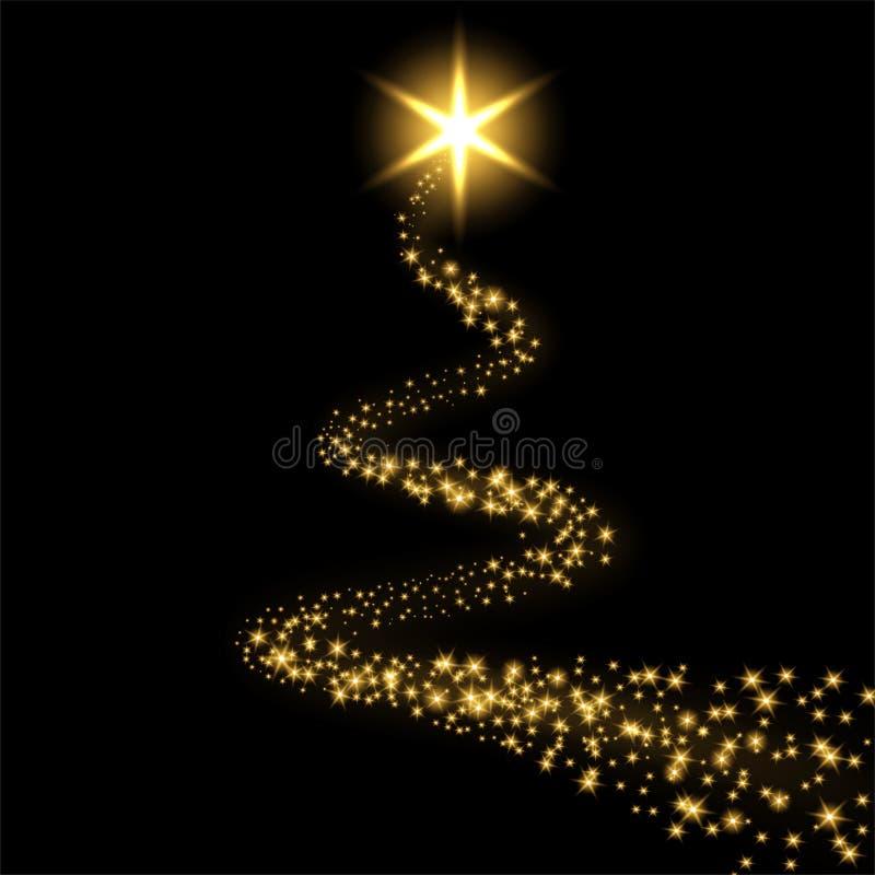 Lokalisierter schwarzer Hintergrund des Sternes Spur Goldmagischer heller Komet, goldene funkelnde Scheine Funkelnfunkelnschie?en lizenzfreie abbildung