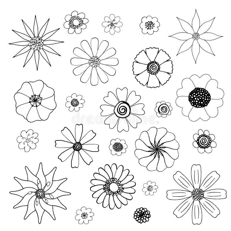Lokalisierter Schwarzweiss-Blumenvektor kritzelt Satz stock abbildung