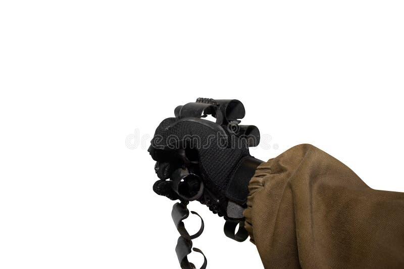 Lokalisierter Soldatarmholding-Munitions-Patronengurt stockfoto