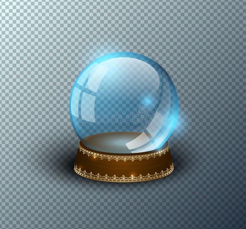Lokalisierter transparenter Hintergrund der Vektorschnee-Kugel leere Schablone Weihnachtszauberball Blaue Glaskugelhaube, hölzern vektor abbildung