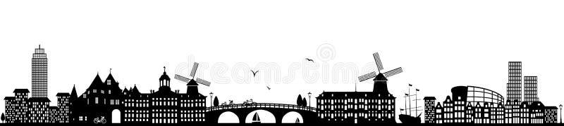 Lokalisierter Vektor Skyline Amsterdams niederländisches Schwarzes lizenzfreie abbildung