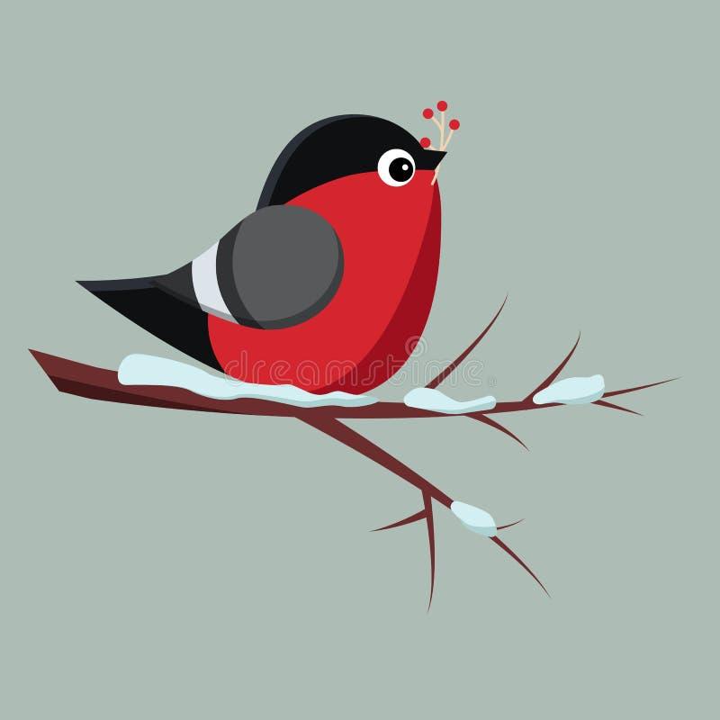 Lokalisierter Vogeldompfaff, der auf schneebedeckter Niederlassung des Ebereschebaums mit Bündel der roten Vogelbeere sitzt stock abbildung