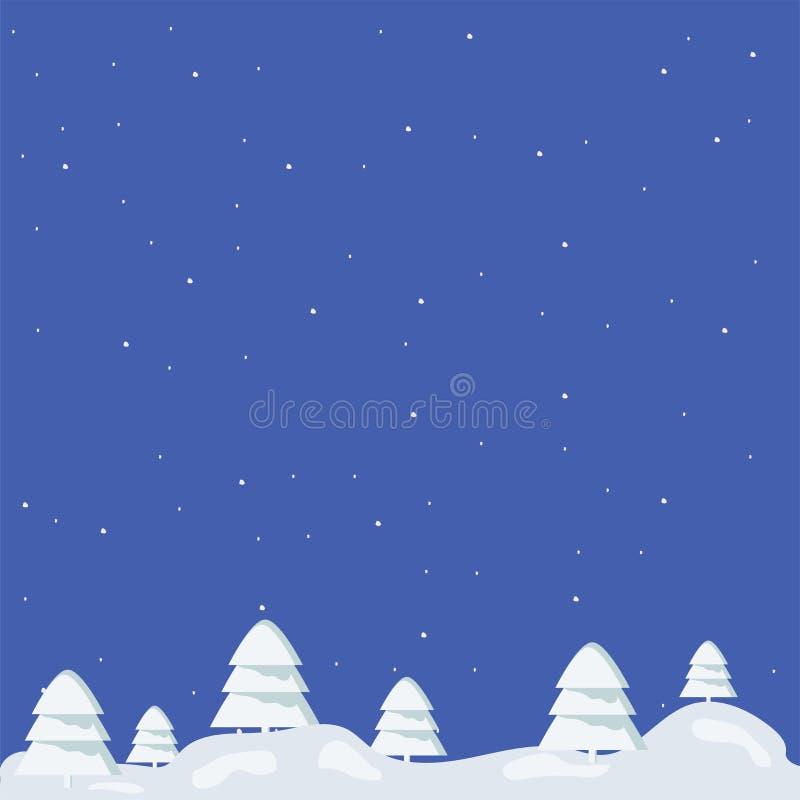 lokalisierter Wald auf einem blauen Quadrat mit den großen und kleinen Weihnachtsbäumen bedeckt mit Schnee nachts vektor abbildung