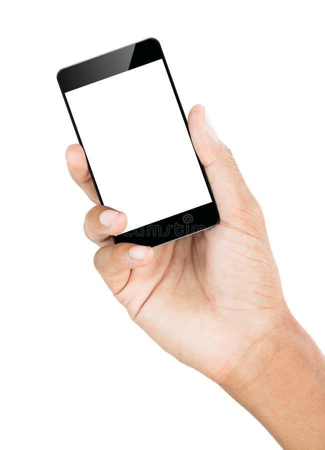 Lokalisierter weißer Beschneidungspfad des Handgriffs Smartphone nach innen stockbild