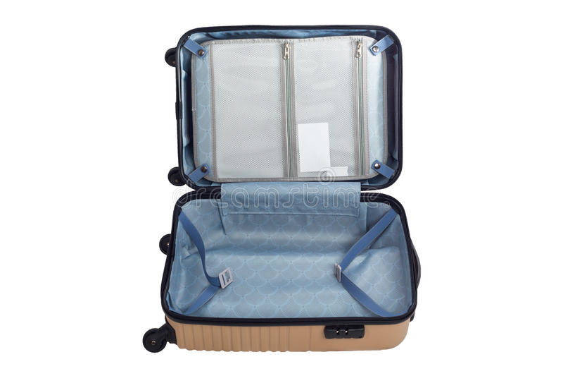 Lokalisierter weißer Hintergrund der Gepäckreise offene Tasche lizenzfreie stockfotografie