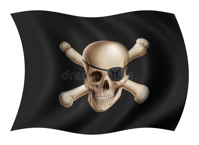 Lokalisierter weißer Hintergrund der Piratenflagge vektor abbildung