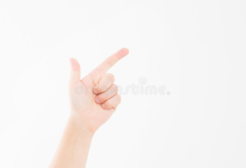 Lokalisierter weißer Hintergrund des Fingers Punkt kaukasische Hand Spott oben Kopieren Sie Platz schablone leerzeichen lizenzfreie stockfotografie