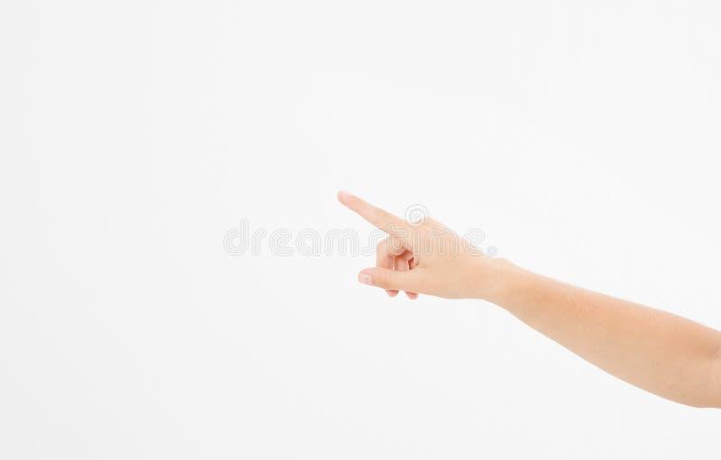 Lokalisierter weißer Hintergrund des Fingers Punkt kaukasische Hand Spott oben Kopieren Sie Platz schablone leerzeichen lizenzfreies stockfoto