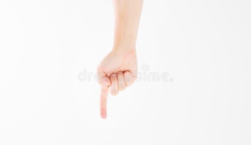 Lokalisierter weißer Hintergrund des Fingers Punkt kaukasischer Arm Spott oben Kopieren Sie Platz schablone leerzeichen lizenzfreie stockfotografie