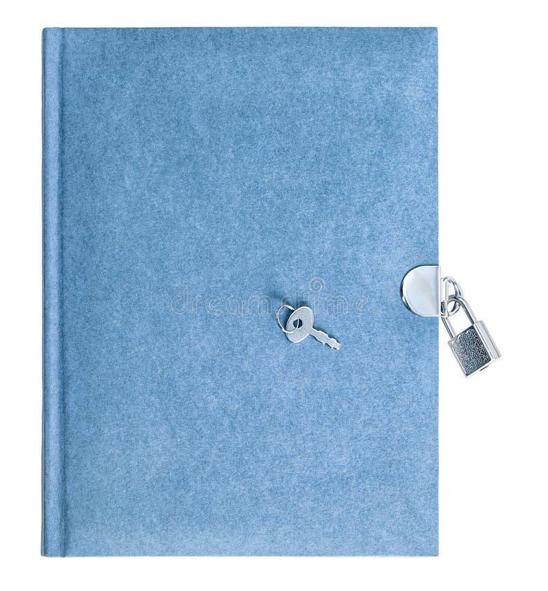 Lokalisierter weißer Hintergrund des Vorhängeschlosses des blauen Buches Schlüssel stockfotos