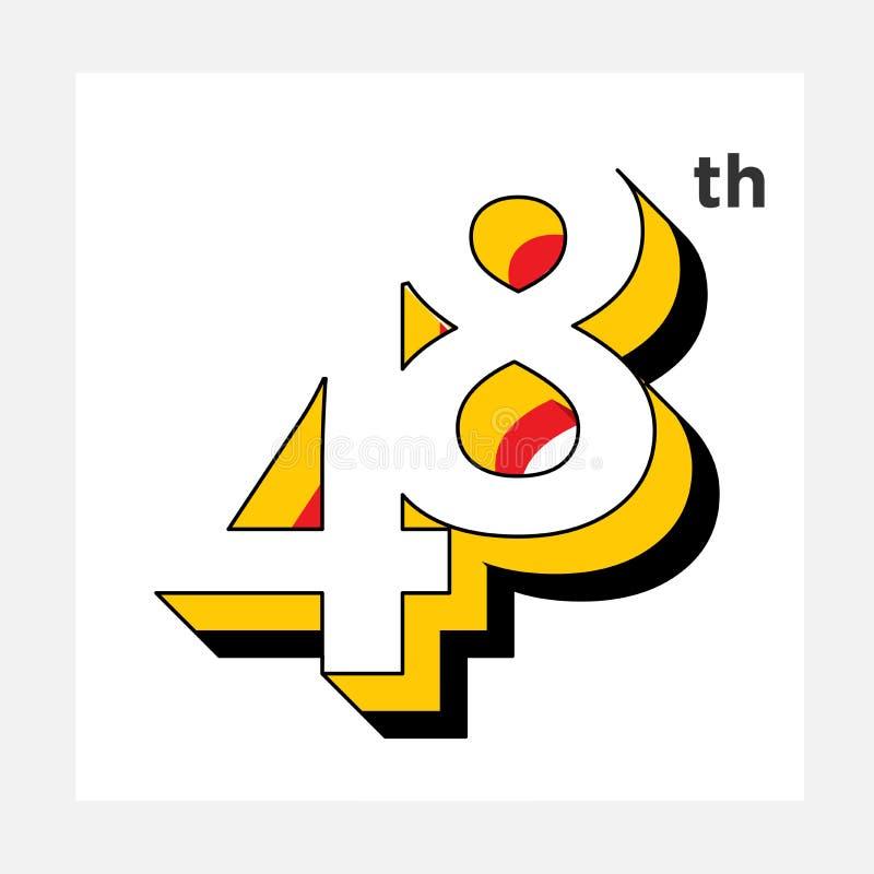 Lokalisierter weißer Hintergrund logo_48 der Zahl Illustration stock abbildung