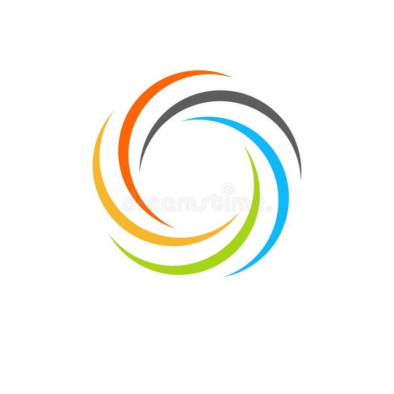 Lokalisiertes abstraktes buntes Kreissonnenlogo Regenbogenfirmenzeichen der runden Form Strudel-, Tornado- und Hurrikanikone Spin stock abbildung
