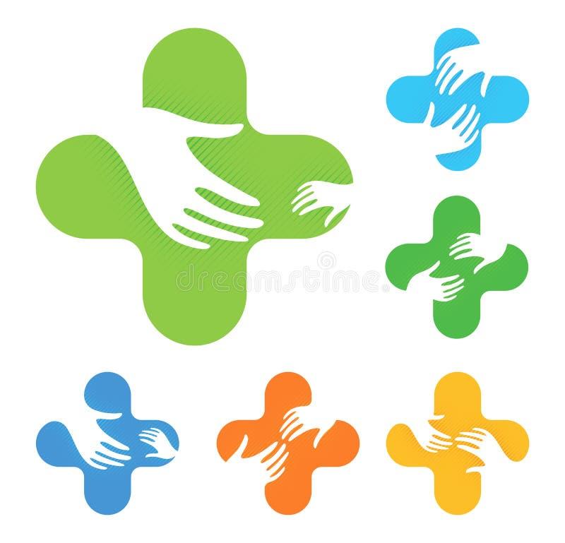 Lokalisiertes abstraktes buntes Kreuz mit zwei Händen, die sich an Logosatz, medizinische Elementfirmenzeichensammlung erreichen vektor abbildung