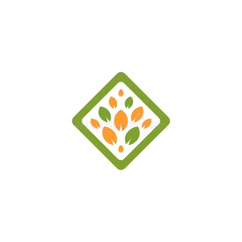 Lokalisiertes abstraktes grünes und orange Farbrautenform-Baumlogo Blattfirmenzeichen Naturkosmetikikone Eco System lizenzfreie abbildung