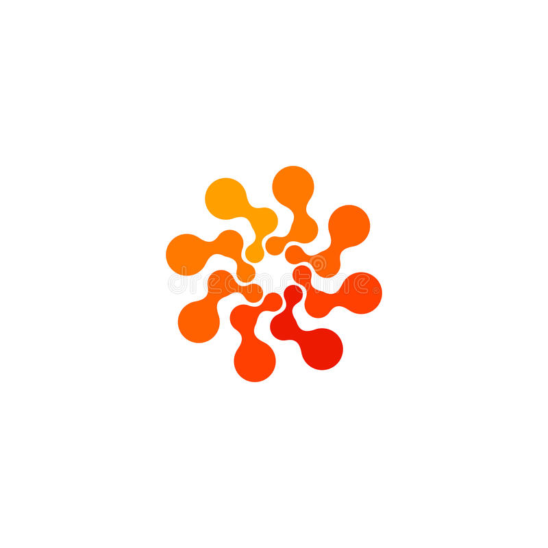 Lokalisiertes abstraktes orange Logo der runden Form Farb, punktiertes stilisiertes Sonnenfirmenzeichen auf weißem Hintergrund, S vektor abbildung