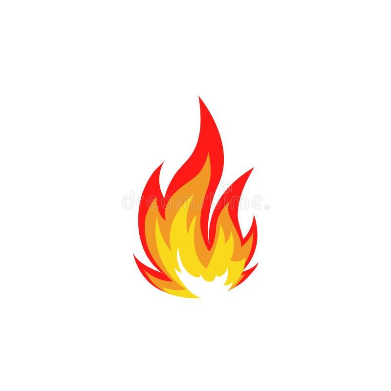 Lokalisiertes abstraktes rotes und orange Farbfeuer-Flammenlogo auf weißem Hintergrund Lagerfeuerfirmenzeichen Würziges Lebensmit lizenzfreie abbildung