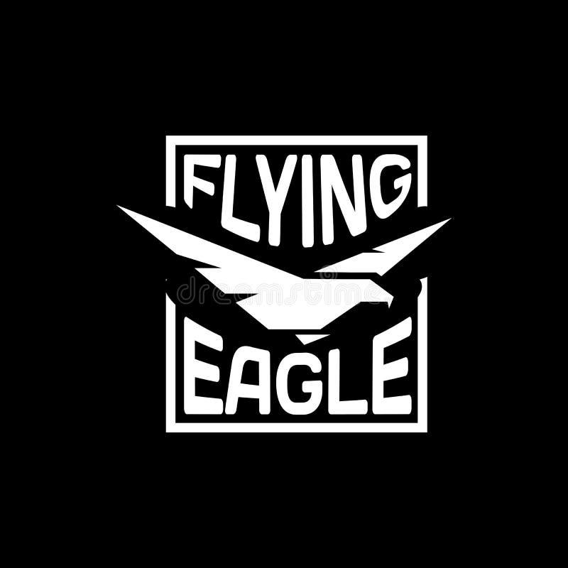 Lokalisiertes Adlerschattenbild-Vektorlogo Vogelfirmenzeichen Flugillustration lizenzfreie abbildung
