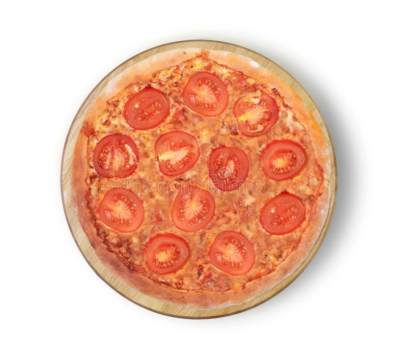 Lokalisiertes Bild einer Margaritapizza auf einem weißen Hintergrund stockfotografie