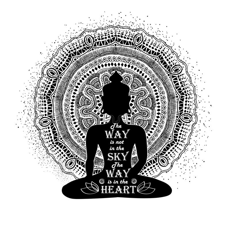 Lokalisiertes Buddha-Schattenbild und Mandala Design lizenzfreie abbildung