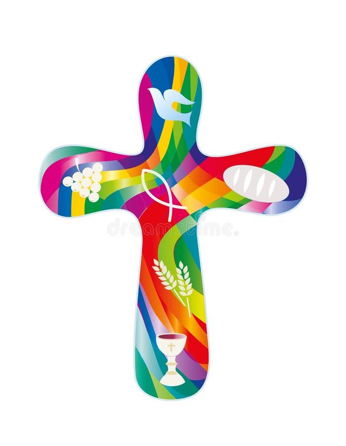 Lokalisiertes christliches Kreuz mit christlichen Symbolen auf buntem Mosaikhintergrund religiöses Zeichen stock abbildung