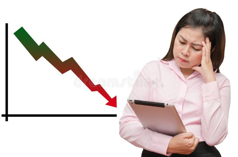 Lokalisiertes Diagramm fährt fort, unten zu gehen und Geschäftsfrau sehen Tabelle lizenzfreie stockfotografie