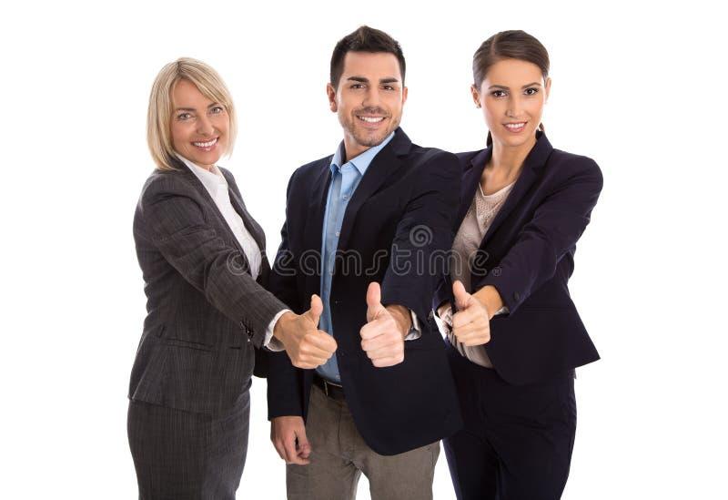 Lokalisiertes erfolgreiches Geschäftsteam: Mann und Frau mit den Daumen oben lizenzfreies stockfoto