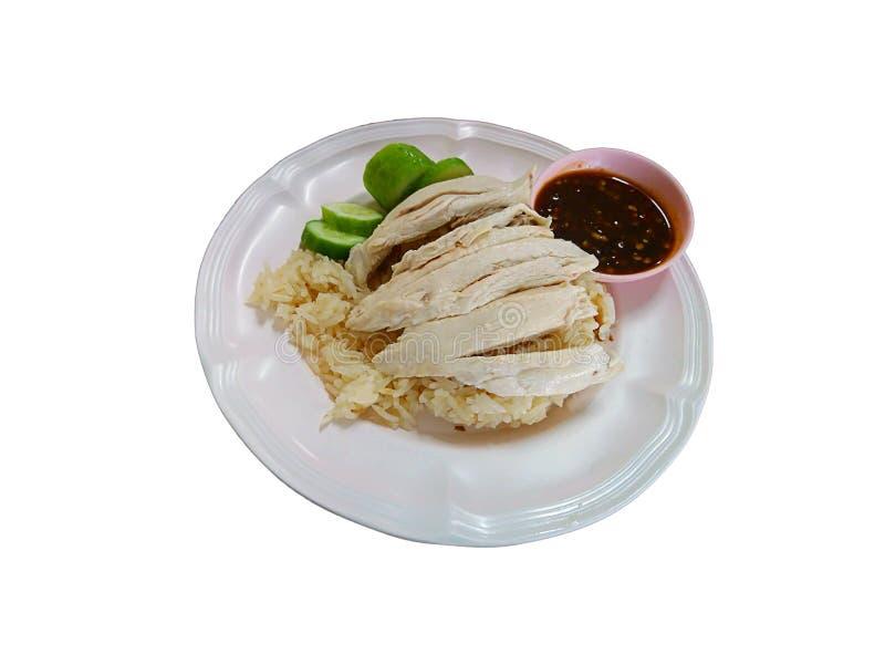 Lokalisiertes gekochtes Huhn und Reis auf einem weißen Hintergrund mit Beschneidungspfad lizenzfreies stockfoto