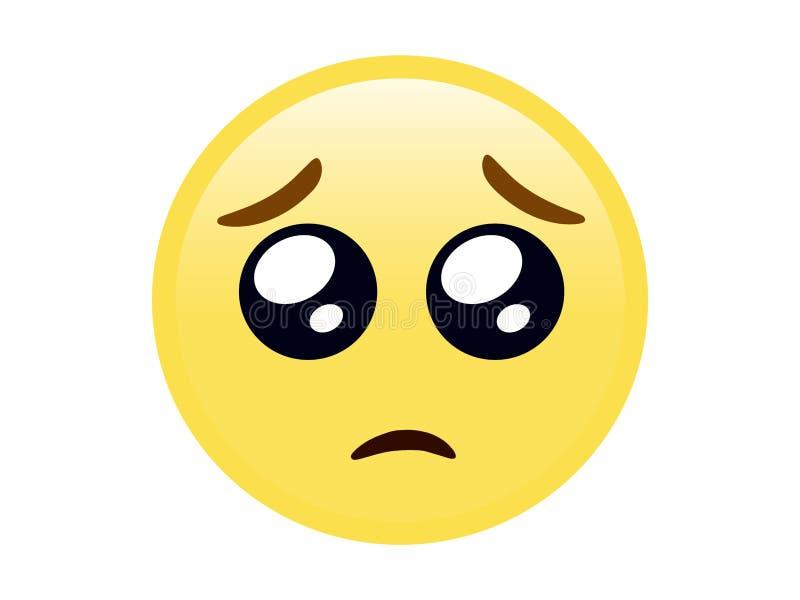 Lokalisiertes gelbes Gesicht, das Augenikone bitten plädiert vektor abbildung