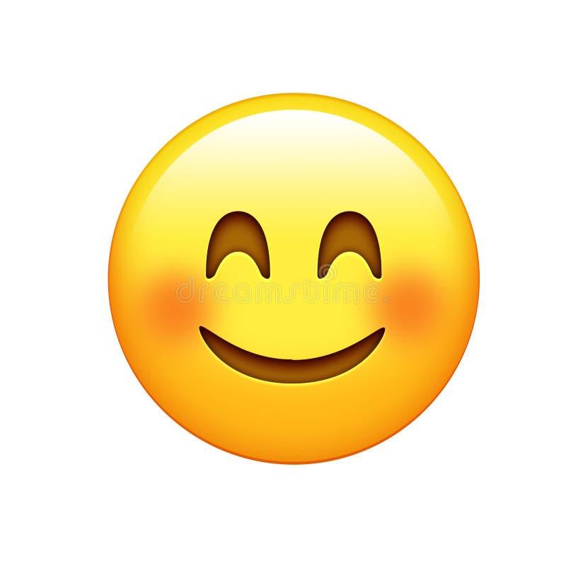 Lokalisiertes gelbes Gesicht mit den roten Backen, lächelnd mustert Ikone stock abbildung