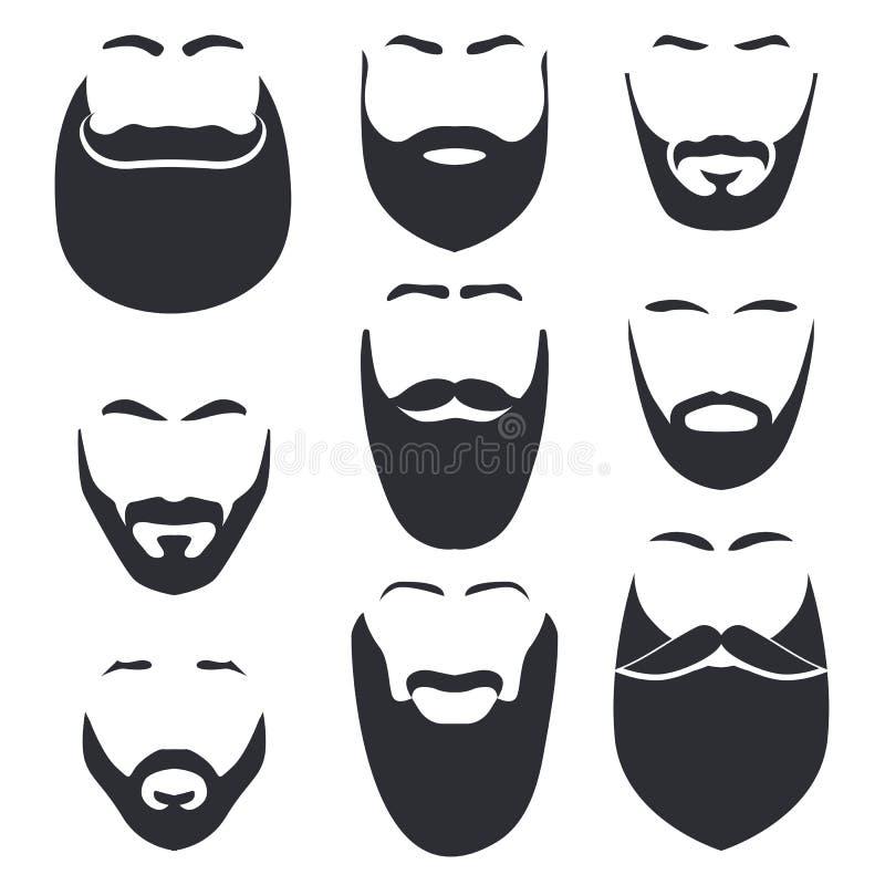 Lokalisiertes Gesicht mit Schnurrbart- und Bartvektorlogosatz Mannfriseursalonemblem vektor abbildung