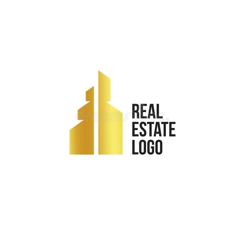 Lokalisiertes goldenes Immobilienagenturlogo, Hausfirmenzeichen auf Weiß, Hauptkonzeptikone, Wolkenkratzervektorillustration lizenzfreie abbildung