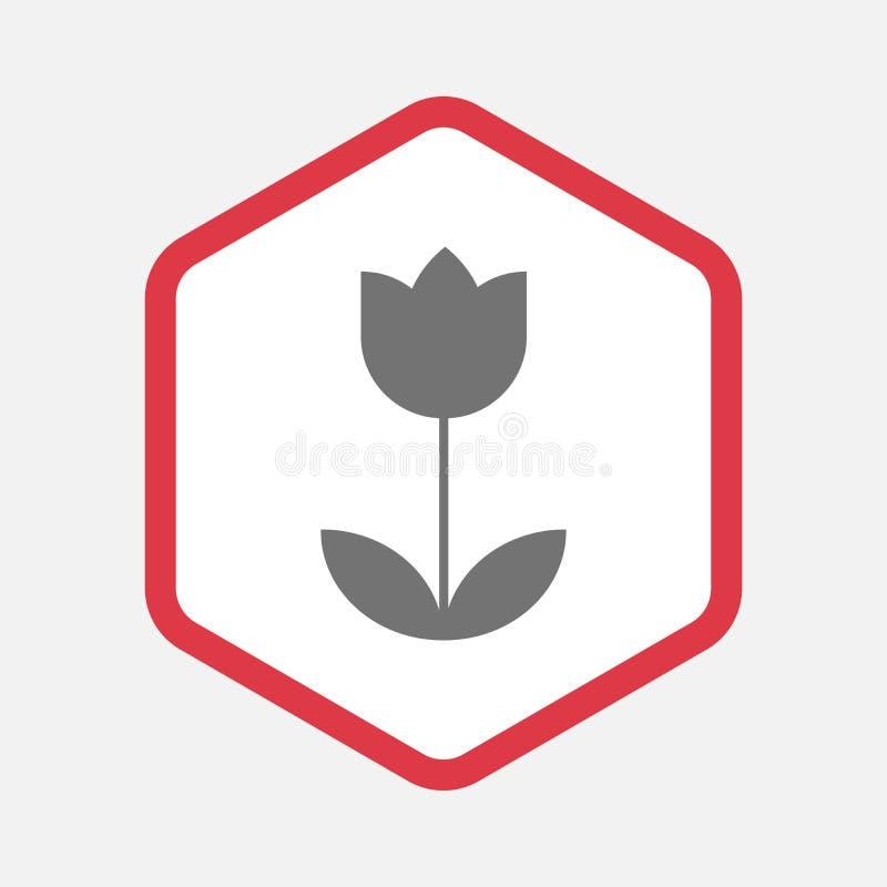 Lokalisiertes Hexagon mit einer Tulpe lizenzfreie abbildung