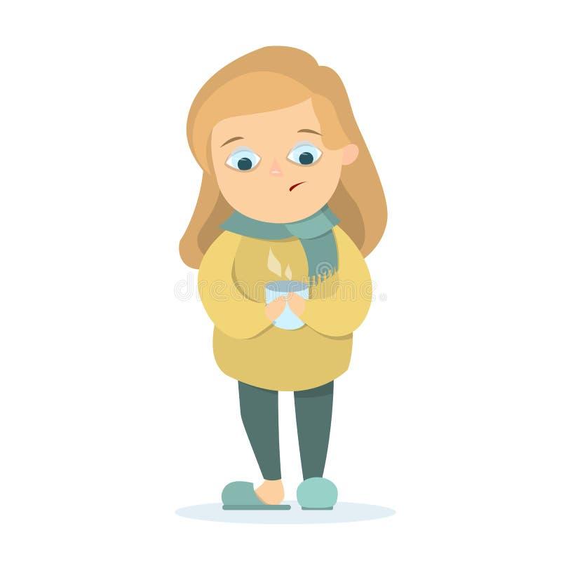 Lokalisiertes krankes Mädchen lizenzfreie abbildung