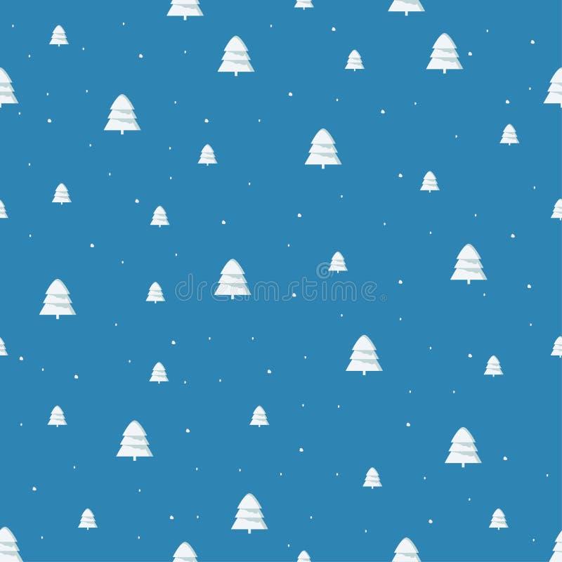 Lokalisiertes nahtloses festliches Muster des neuen Jahres mit nettem Weihnachtsbaum, auf hellblauem Hintergrund lizenzfreie abbildung