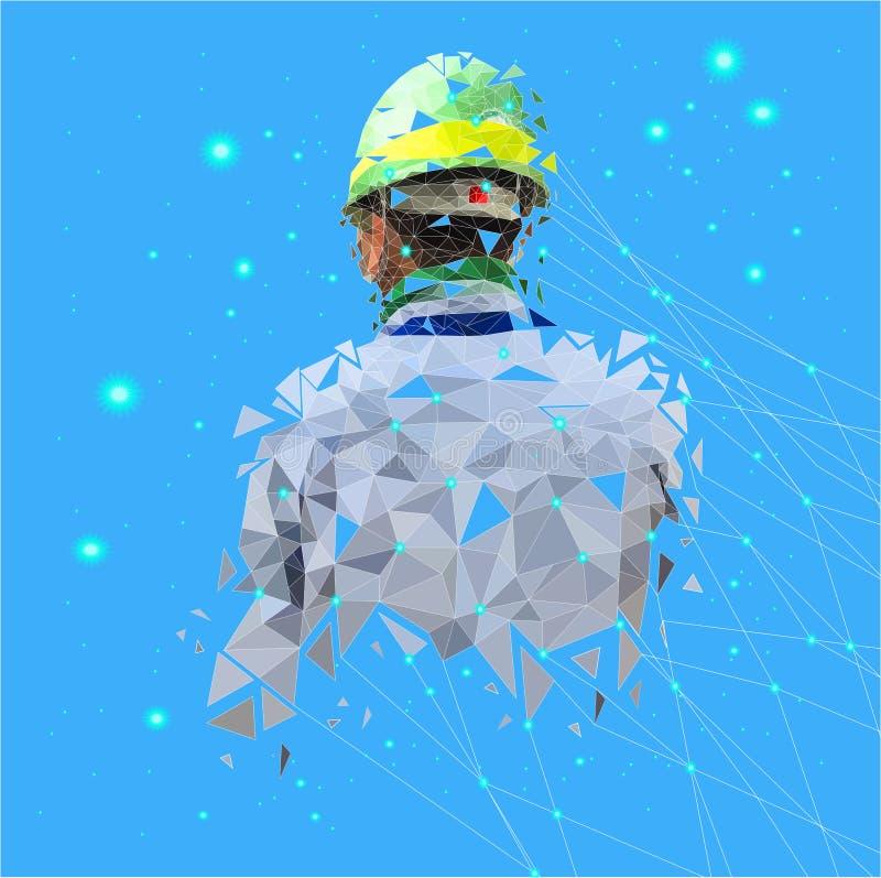 Lokalisiertes niedrig Poly des Sicherheitsingenieurs mit Verbindungsnetz des Punktes auf Raumrückseitenboden, geometrischer Stil, vektor abbildung