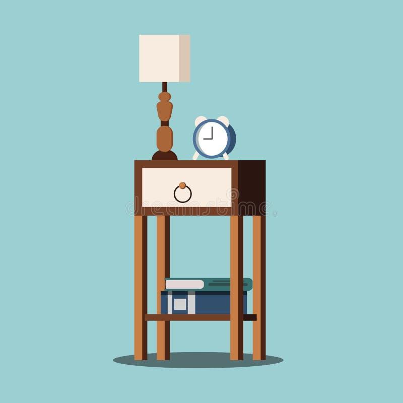 Lokalisiertes nightstand mit Lampe, Wecker, Bücher stock abbildung