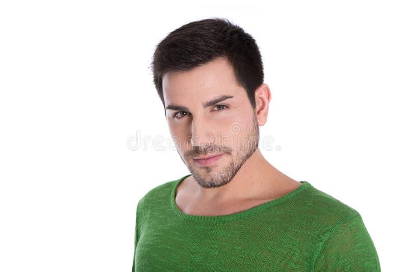 Lokalisiertes Porträt des attraktiven jungen Mannes auf weißem Hintergrund. stockbild