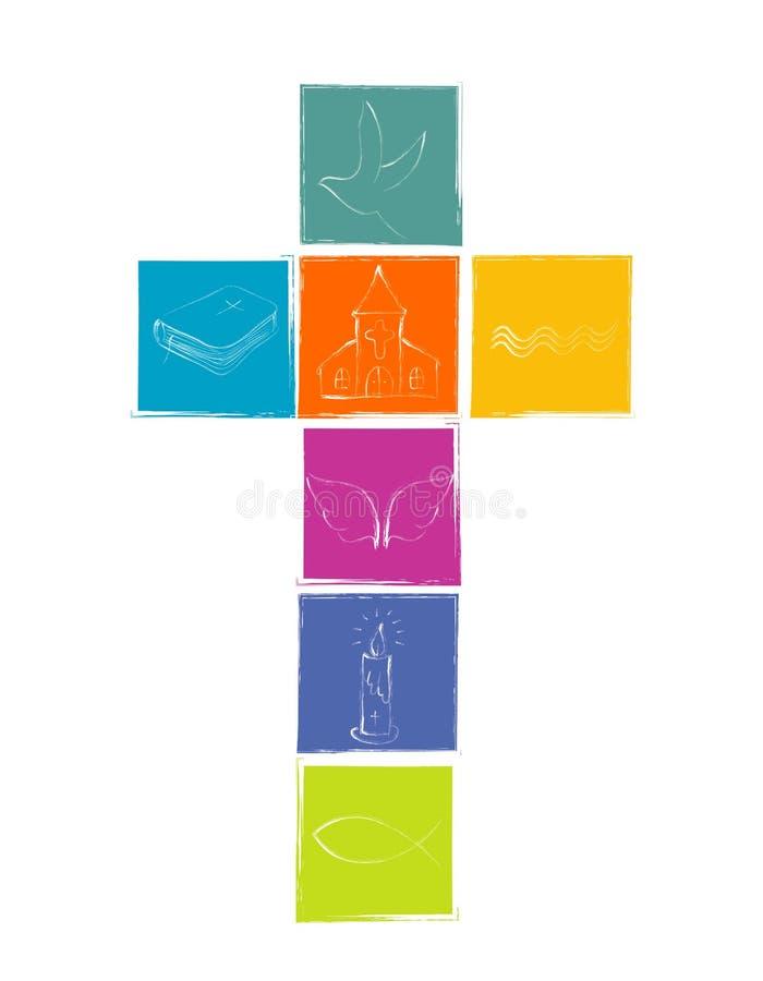 Lokalisiertes Quer mit christlichem Symbolismus Weiße christliche Symbole mit Quadraten in den verschiedenen hellen Farben religi lizenzfreie abbildung