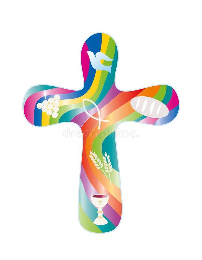 Lokalisiertes Quer mit christlichen Symbolen auf buntem Regenbogenhintergrund religiöses Zeichen stock abbildung