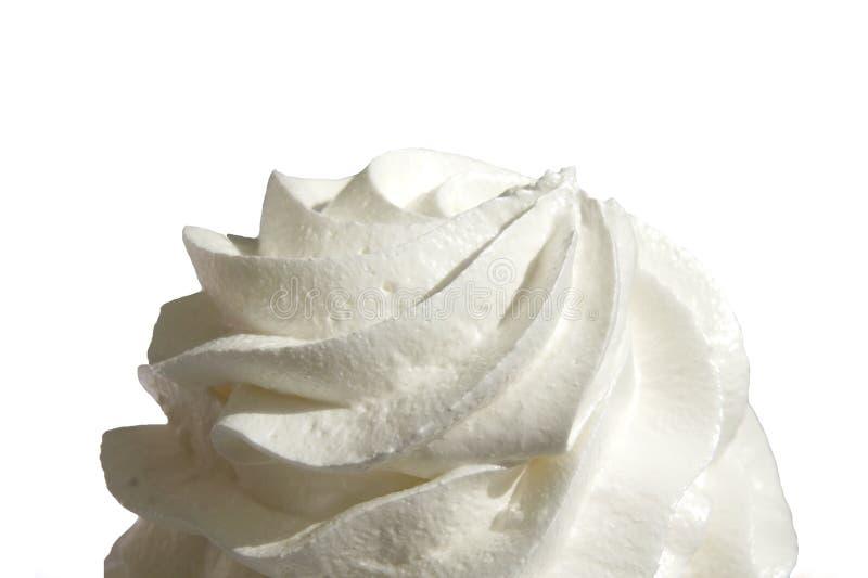 Lokalisiertes Sahneweiß, Schlagsahne lokalisiert auf weißem Hintergrund stockfoto