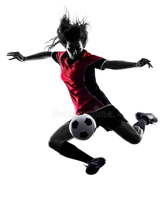 Lokalisiertes Schattenbild des Frauenfußballspielers stockbild